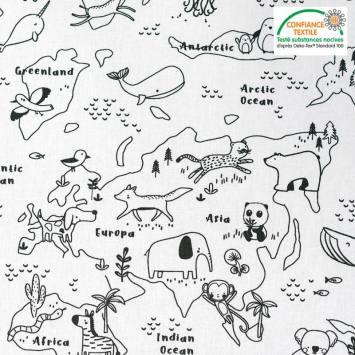 coupon - Coupon 45cm - Coton à colorier motif map zoo Oeko-tex