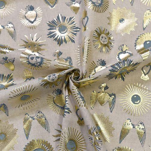 Coupon 50x68 cm - Toile polycoton chinée naturelle imprimée soleil doré
