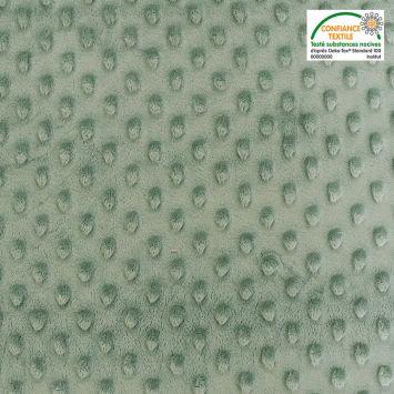 coupon - Coupon 45cm - Minky uni vert thym relief pois Oeko-tex