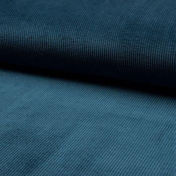 coupon - Coupon 90cm - Velours côtelé à grosses côtes bleu pétrole