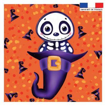 Coupon 45x45 cm motif squelette sorcier - Création Créasan'