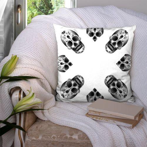 Coupon 45x45 cm motif crâne blanc - Création Créasan'