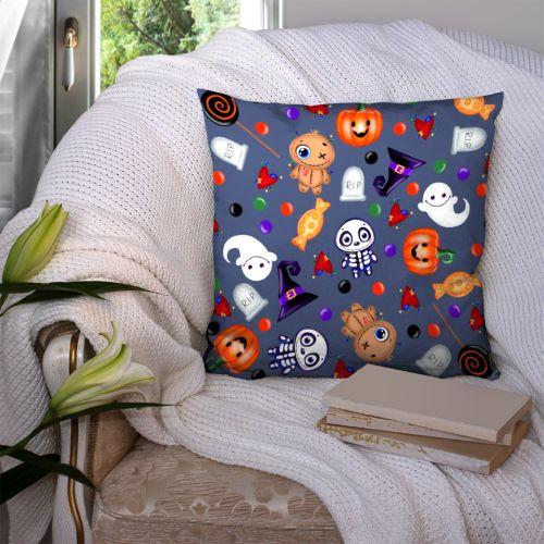 Coupon 45x45 cm motif halloween bleu - Création Créasan'