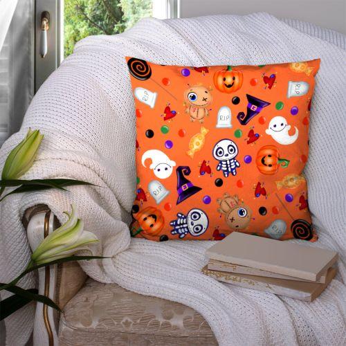 Coupon 45x45 cm motif halloween orange - Création Créasan'