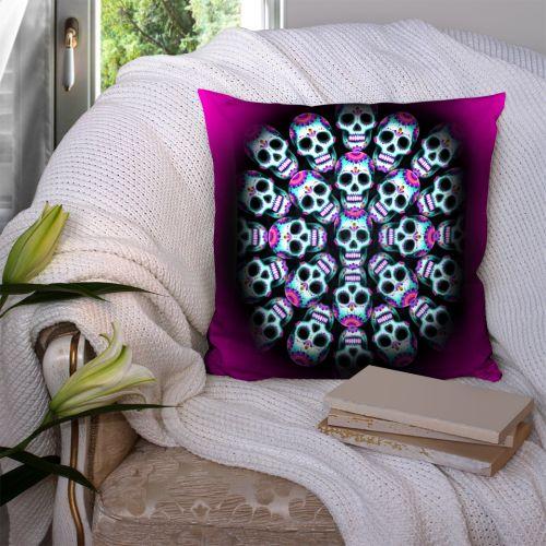 Coupon 45x45 cm motif mandala crânes - Création Créasan'