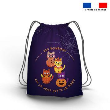 Kit sac à dos coulissant motif chat d'halloween