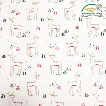 Coton blanc motif rennes de Noël kajsa Oeko-tex