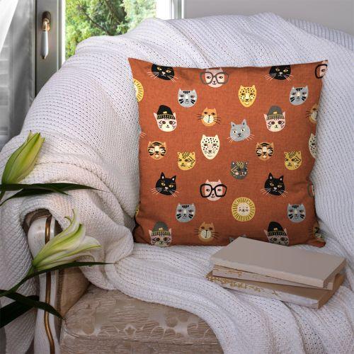 Coton orange motif chats Oeko-tex