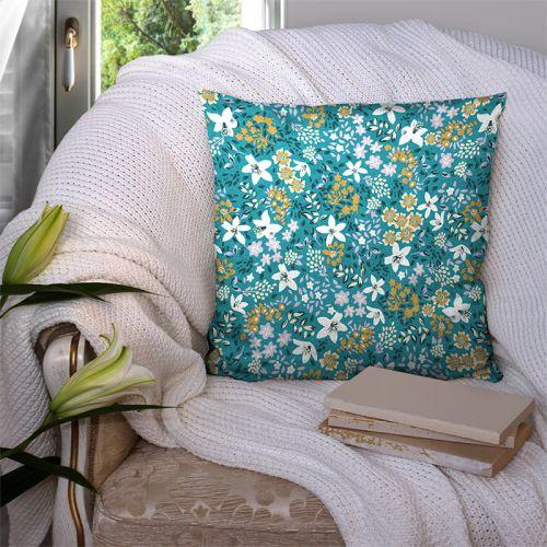 Coton vert émeraude motif petites fleurs viva Oeko-tex