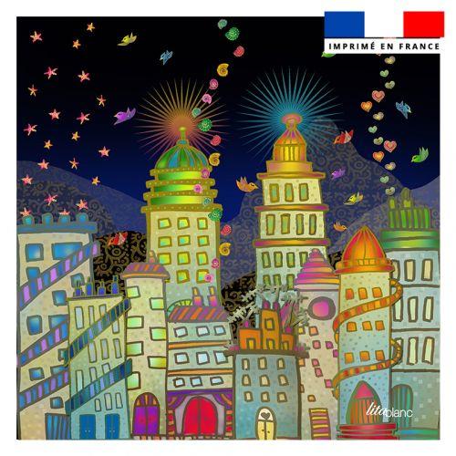 Coupon 45x45 cm motif ville - Création Lita Blanc