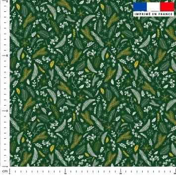 Feuilles d'or Noel - Fond vert