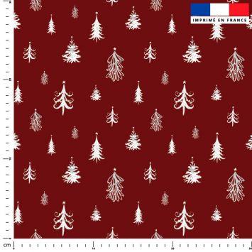 Sapin de Noel blanc - Fond rouge