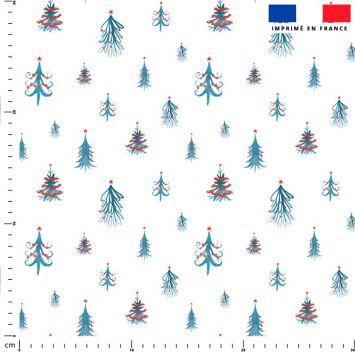 Sapin de Noel bleu déco rouge - Fond blanc