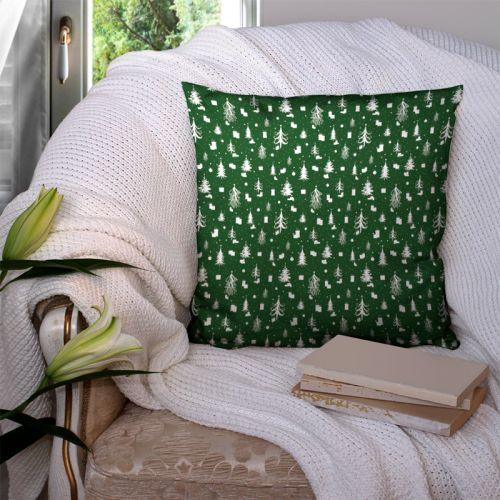 Sapin de Noel et cadeau blanc - Fond vert