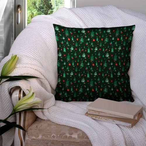 Sapin de Noel et cadeau vert et rouge - Fond vert forêt
