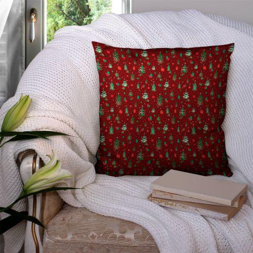 Sapin de Noel et cadeau vert et rouge - Fond rouge