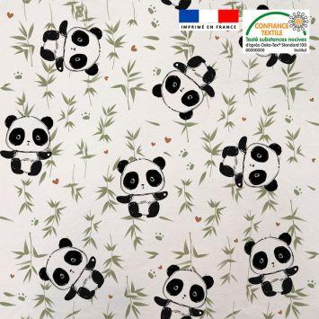 Tissu minky blanc motif panda et bambou vert Oeko-tex