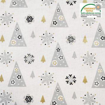 Coton blanc motif sapin et flocon de neige adelgran Oeko-tex