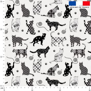 Chat noir fantaisie - Fond gris
