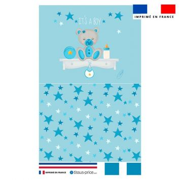 Kit pochette bleu motif baby boy - Création Créasan'