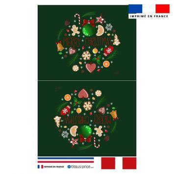 Kit pochette vert motif merry christmas - Création Créasan'
