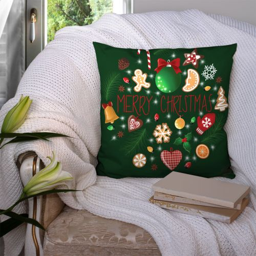 Coupon 45x45 cm vert motif merry christmas - Création Créasan'