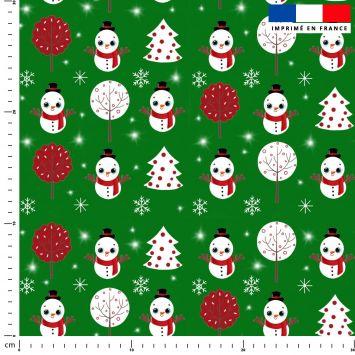 Bonhomme de neige - Fond vert - Création Créasan'