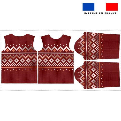 Kit pull Noel en polaire motif scandinave rouge