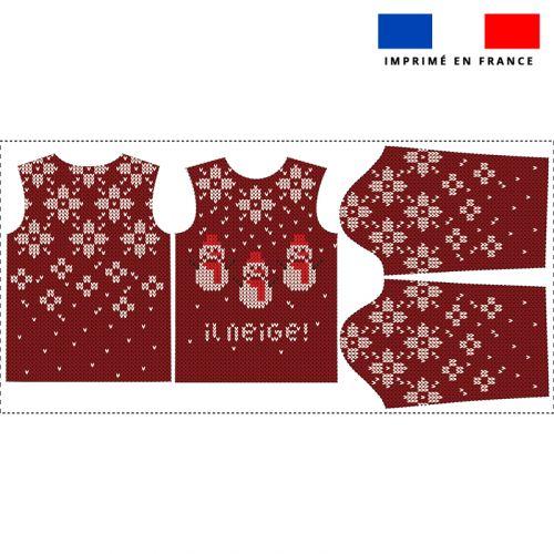 Kit pull Noel en polaire motif bonhomme de neige rouge