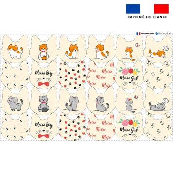 Coupon microfibre pour lingettes lavables forme chat motif chaton Oeko-tex