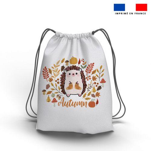 Kit sac à dos coulissant motif hérisson et feuilles d'automne