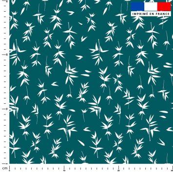 Bambou blanc - Fond bleu canard