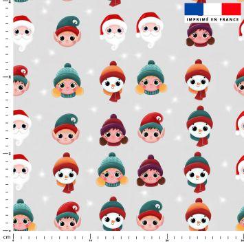 Personnages de Noel - Fond gris - Création Créasan'