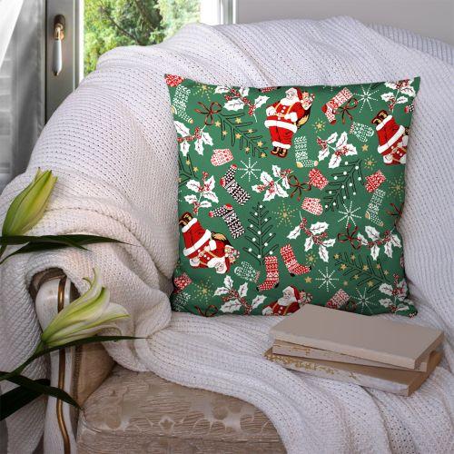 Coton vert motif père noel Oeko-tex