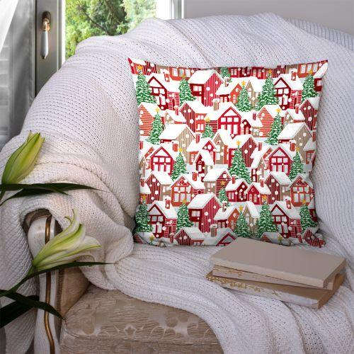 Coton rouge motif maison nouvel an de noel Oeko-tex