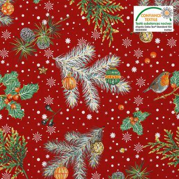 Coton rouge motif rouge-gorge noel Oeko-tex