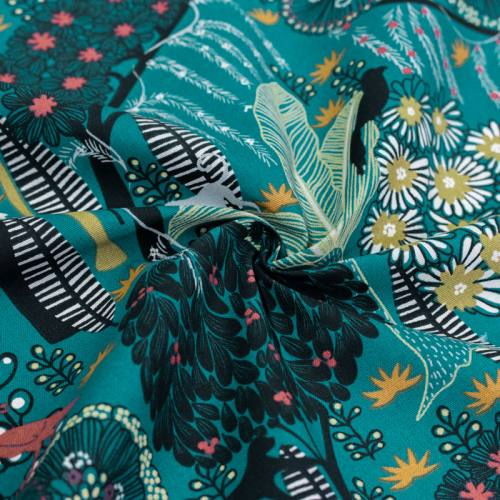 coupon - Coupon 92cm - Toile coton vert canard imprimée jungle abstraite idaho