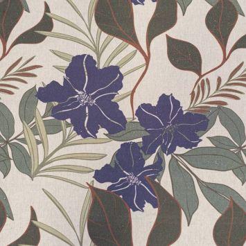 Toile coton bio aspect lin imprimée fleur Anaïs indigo et feuilles