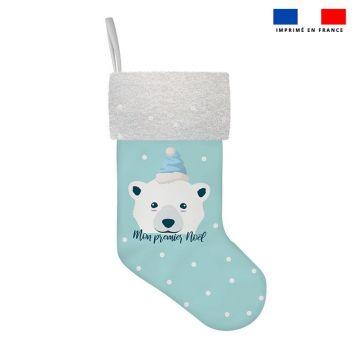 Kit chaussette de noel bleu motif ours polaire