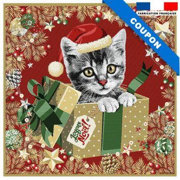 Carré de jacquard chaton de Noël doré 48x48 cm