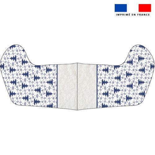 Kit chaussette de noel blanche motif sapin bleu