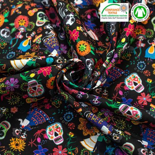 coupon - Coupon 60cm - Coton bio noir motif tête de mort mexicaine iguala Oeko-tex