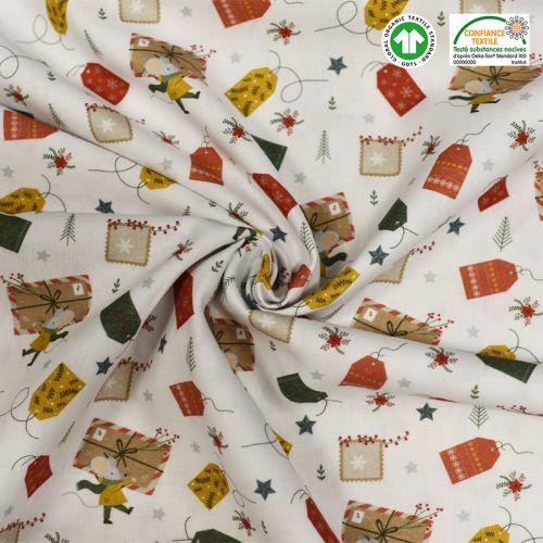 coupon - Coupon 90cm - Coton bio blanc motif cadeaux Oeko-tex