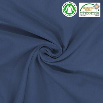 Toile coton bleue oeko-tex grande largeur