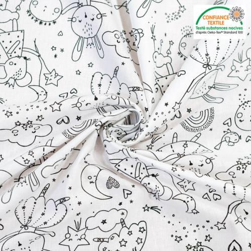 coupon - Coupon 80cm - Coton à colorier motif lapine et souris princesses Oeko-tex