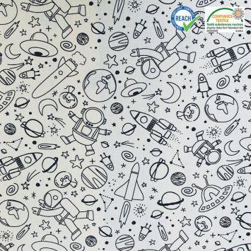 coupon - Coupon 70cm - Coton à colorier motif planète cosmicolo Oeko-tex