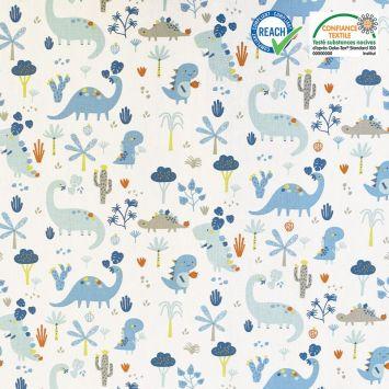 coupon - Coupon 32cm - Coton blanc motif dinosaure bleu neogrrr Oeko-tex