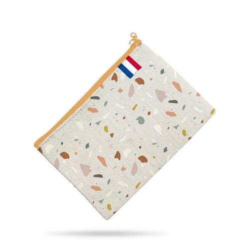 Kit pochette motif tiles gris - Création Anne Clmt