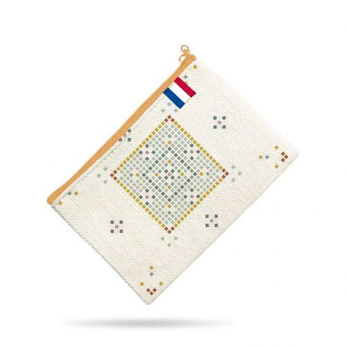 Kit pochette motif tiles - Création Anne Clmt