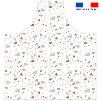 Patron imprimé pour tablier motif tiles blanc - Création Anne Clmt